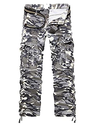 Menschwear Herren Cargo Hosen Freizeit Multi-Taschen Military pantaloni Ripstop Cargo da uomo 012(34,Multicolor)
