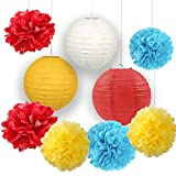 Carnival Party Supplies Tissue Paper Flowers Pom Pom Paper Lanterns for Circus Baby Shower Circus Party Supplies