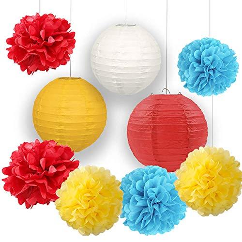Karneval Party Supplies Seidenpapier Blumen Pom Pom Papierlaternen für Zirkus Baby Shower Circus Party Supplies