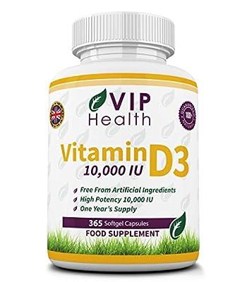 Vitamin D3 10,000 IU 365 Softgels (Full Year Supply) by VIP Health - High Strength Vitamin D the 'Sunshine Vitamin' 10,000IU D-3 by VIP Health