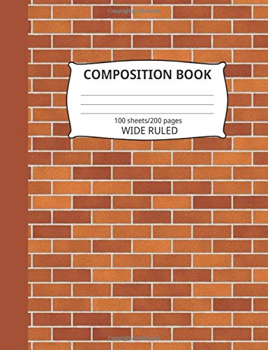 Composition Book: Brick Wall Pattern 7: Blank Wide Ruled Notebook -