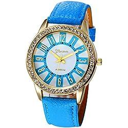 WINWINTOM Women Stainless Steel Analog Leather Quartz Wrist Watch Blue
