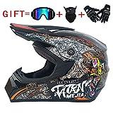 QJXF Adult Motorrad Motocross Helme-Full Face Helmet for Man and Woman-Goggles + Wind Mask + Cross Country Handschuhe (Dot Certified + 17 Stil),7,S