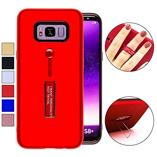 COOVY® Cover für Samsung Galaxy S8 + Plus SM-G955F / SM-G955FD Bumper Case, Doppelschicht aus Plastik + TPU-Silikon mit Halteschlaufe, Standfunktion | Farbe rot -