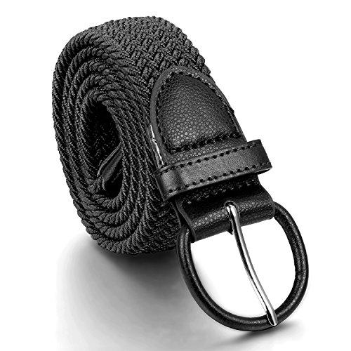 JewelryWe Joyería Elástico Cinturón Trenzado Negro, Largo y Cómodo con Hebilla, Retro Vintage Cinturón Ajustable 150cm Máximo, para Hombre Mujer Estilo Unisex