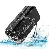 LOBKIN Bluetooth Tragbare Lautsprecher Wasserdicht Speaker Stoßfest Boxen Wireless Stereo Boombox mit eingebautem Mikrofon Kabelloser Musikbox mit 8-Stunden Spielzeit und TF Karte (Schwarz)