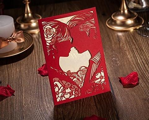 vstoy Marron clair poche découpé au laser Mariage Invitations Cartes Lot de 20 pièces pour fiançailles mariage marié et mariée Love Kiss style avec joints Enveloppes Fêtes (rouge)