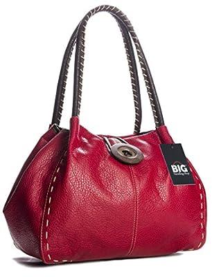 BHBS Femmes Branché Boutique Designer à Gros Bois Boutons Détail Sac à Main épaule 32x25x16.5 cm (LxHxP)