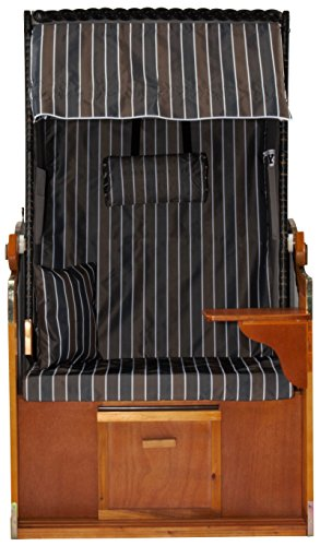 Strandkorb Ostsee Bansin Einsitzer Modell AOGGR4, Korpus schwarz mit Schutzhülle, Strandkörbe aus Holz und Poly-Rattan ideal für Garten Terrasse Balkon, Premium Single Strandstuhl mit Abdeckhaube 90cm - 5