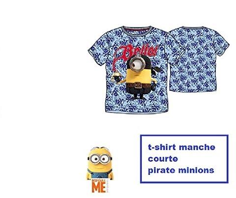 T-shirt manches courtes enfant garçon Les Minions pirates bleu 4 ans