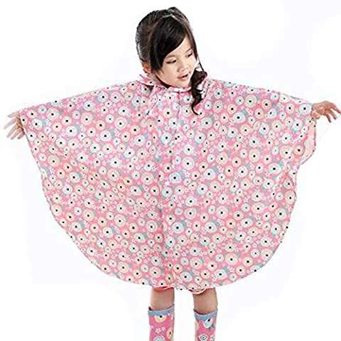 Highdas Children Big Eaves Hat Poncho Baby Kids Environmental Tasteless Raincoat Pink