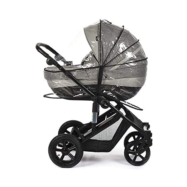Roma Moda Pram, Includes Carry Cot, Rain Cover, Cup Holder and Bag - Grey Roma Suitable from newborn - 15kg - Raised backrest in the carry cot Lightweight aluminium frame - All round suspension - Easy fold All terrain tyres (rear air tyres and front foam tyres) Large hood with viewing window 3