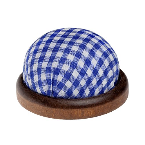 rundes Tisch - Nadelkissen mit dunkler Holzumrandung, Farbe: blau & weiß (Kariertes Muster)