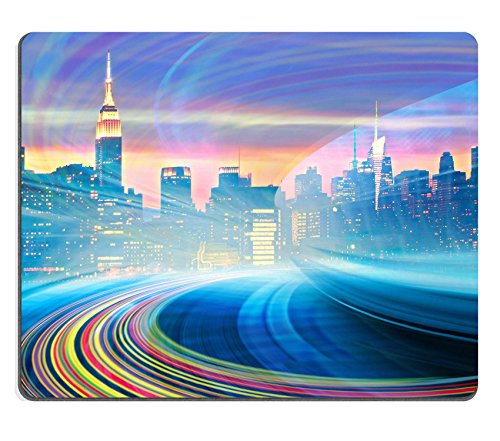 Msd Natural rubber Gaming Mousepad Image ID 36341622astratto illustrazione di un Urban Highway going to the Modern City Downtown Speed Motion con Colorful Light Trails immagine di New York City skyline