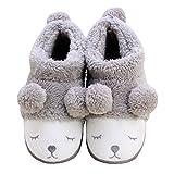 Winter Unisex Wärme Nette Karikatur Rabbit Hausschuhe Plüsch Soft Sole Indoor Slipper Baumwolle Pantoffeln Grau EU 35-36