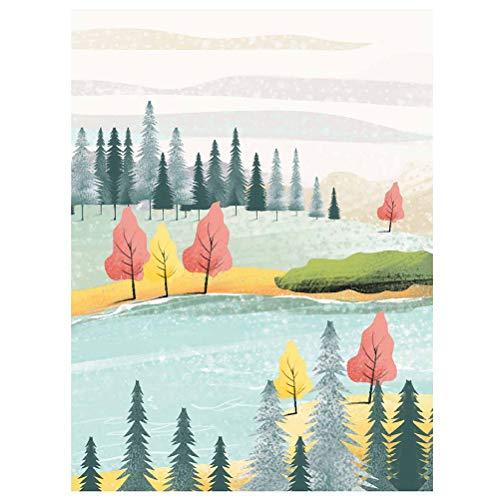 Landschaft Landschaft Tinte und waschen dekorative minimalistische selbstklebende Poster Kristall Porzellan Malerei Wandzeichnung für Wohnzimmer Schlafzimmer Sofa Hintergrund (JCH017) (60 * 40 cm)