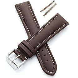 Genuine Leather Watch Strap - Padded and Stitched (20mm - Brown/White - M)