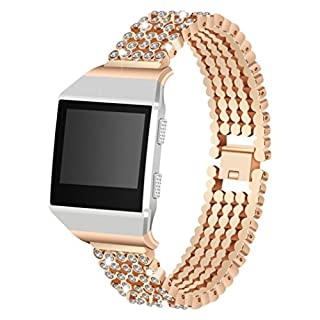 AutumnFall For Fitbit Ionic Band,2018 Crystal Alloy Replacement Strap Breathable Accessory Wristband for Fitbit Ionic Smart Watch (Rose Gold)