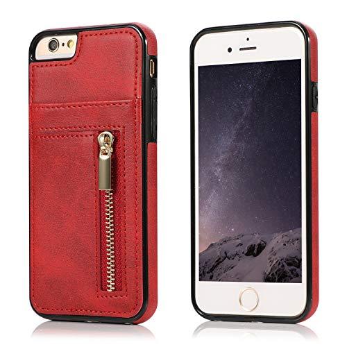 Yobby Hülle für iPhone 6/6S,Ultra Slim Retro PU Leder Brieftasche Handyhülle mit Kartenfach Rückseite und Reißverschluss,Stoßfest Bumper Schutzhülle für iPhone 6/6S-Rot -
