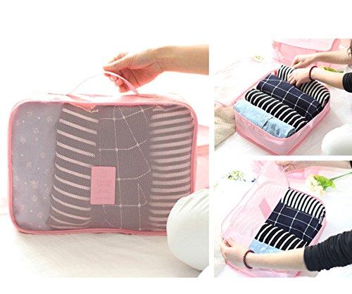 6set Pack tasche valigetta Organizer borsa da viaggio sacchetto kleidertasche cultura borsa valigetta Borsa per scarpe Organizer Stoccaggio Borsa in nylon, Dunkelblau, L Pink