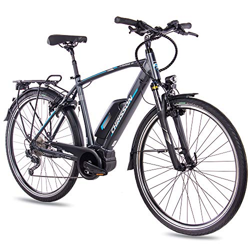 CHRISSON 28 Zoll Herren Trekking- und City-E-Bike - E-Rounder anthrazit matt - Elektro Fahrrad Herren - 9 Gang Shimano Deore Kettenschaltung - Pedelec mit Active Line Mittelmotor 250W, 40Nm