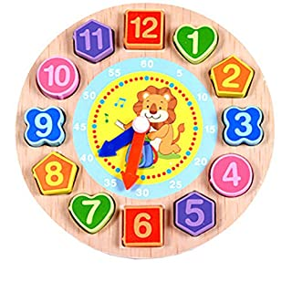 ADESHOP Early Education 3 Year Olds Baby Toy, Cartoon Animal Educational Toys For Children Wooden Beaded Digital Clock(Lion)