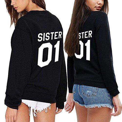 Best Friends Pullover 2er set SISTER Partner Sweatshirt mit als Geschenk Valentinstag Symbolische Liebe T-Shirt von Ziwater (Sister-XL+Sister-XL, Schwarz) (Schwarz 2 Sweatshirt)
