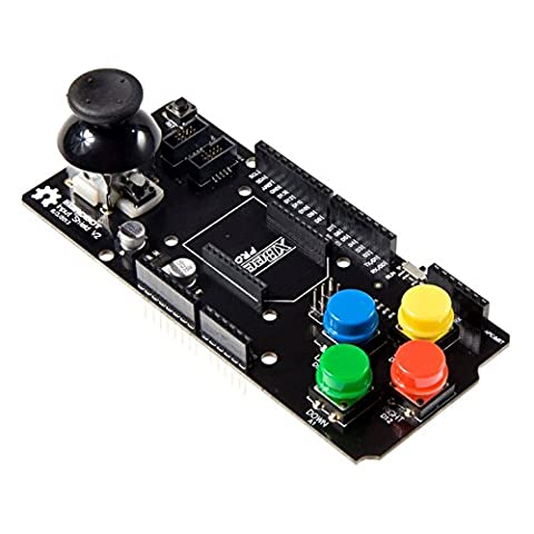 Venel--Arduino Input Shield Includes a Two Axis Mini Joystick (With Moment Switch) as Well as Four Colored Push Buttons(Red,Yellow,Blue,Green). It Can Also Connect With OLED2864 OLED9664