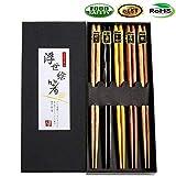Juego de palillos de madera natural japonesa reutilizable – 5 pares de palillos de madera incluye una hermosa caja de palillos tradicional decorada de 23 cm