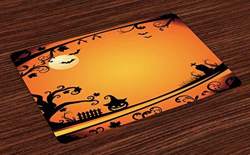 ABAKUHAUS Vintage Halloween Platzmatten, Halloween unter dem Motto Bild Unheimliche Atmosphäre Grabstein Böse Kürbis Mond, Untersetzer aus Waschbaren Stoff Tischdekoration mit Druck, Orange ()