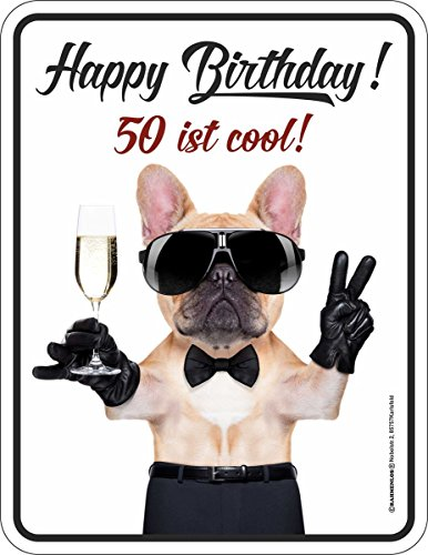 RAHMENLOS Original Blechschild zum 50. Geburtstag: Happy Birthday! 50 ist cool! Nr.3727