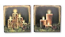 Geschenkestadl 2 LED Wandbilder Kerzen beleuchtet Bild je 30 x 30 cm Leinwand Weihnachten