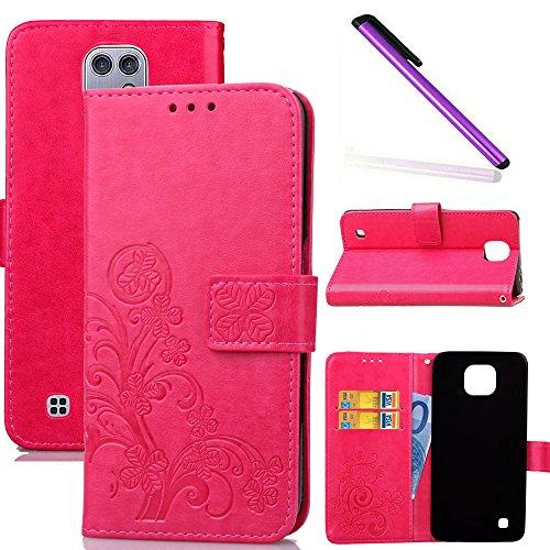 COTDINFOR LG X Cam Hülle für Mädchen Elegant Retro Premium PU Lederhülle Handy Tasche im Bookstyle mit Magnet Standfunktion Schutz Etui für LG X Cam Clover Red SD