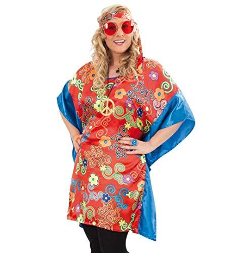 KarnevalsTeufel Damenkostüm-Set Hippie 6-teilig Oberteil Stirnband Brille Kette und 2 Ringe Starke Outfits große Größen Peace Flower-Power (50)