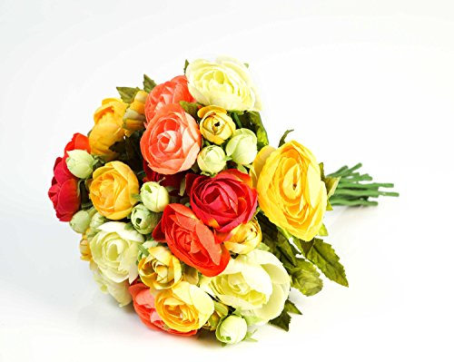 Set 2 x di mazzo di ranuncoli artificiale con 18 fiori, gemme, variopinto, 30 cm, Ø 25 cm - 2 pezzi di bouquet floreale / composizione di fiori artificiali - artplants
