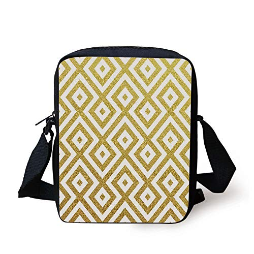 Gold and White,Sand Like Geometric Rectangular with Inner Details Lines Stripes Image Decorative,Yellow and White Print Kids Crossbody Messenger Bag Purse (Coach Laptop Bag 13)