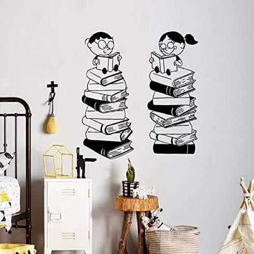 wukongsun Libros para niños Pegatinas de Pared Pegatinas de Vinilo Biblioteca Aula Escuela Arte Familiar Sala de Estar Interior Dormitorio diseño de Arte extraíble Negro 91x84cm
