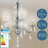 Lustre avec Cristaux | CEE: A++ à E, (Ø/H): env. 68/50 cm, pour E14 5 Ampoules de 40 W | Chandelier en Cristal, Lampe Suspendue