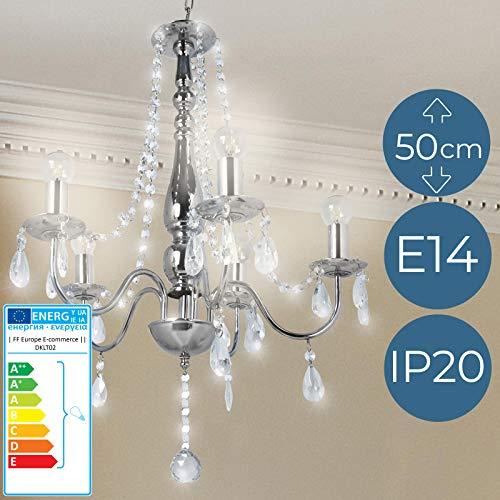 Lustre avec Cristaux - CEE: A++ à E, (Ø/H): env. 68/50 cm, pour E14 5 Ampoules de 40 W - Chandelier en Cristal, Lampe Suspendue