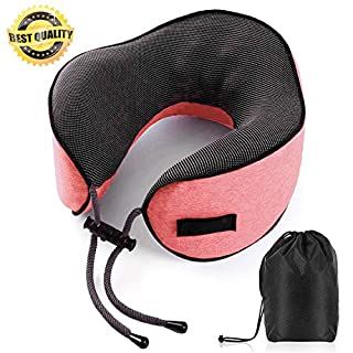 Ayunhao Travel Pillow Memory Foam Neck Pillow for Airplane Car-Supports The Head,Neck and Chin in, Best Massage Design,A Patented Product.Portable Washable Coat(Pink)