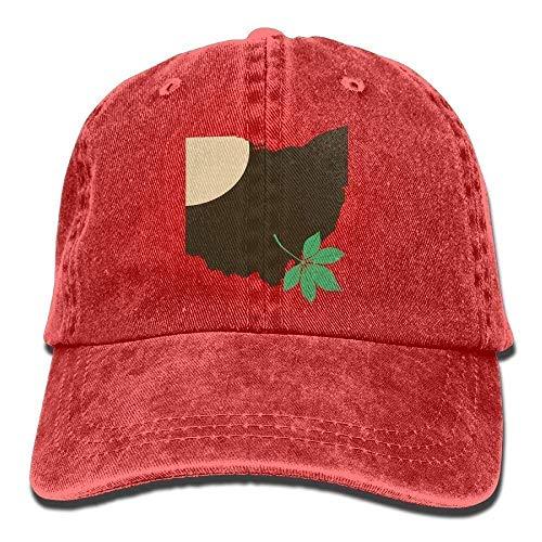 Liumiang Kappen hüte mützen Ohio State Buckeye Leaf Snapback Casual Baseball Hat Denim Hat for Men and Women Ajustable Sports Cap Lightweight Breathable Soft (Buckeyes Hat Kids)
