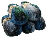 ALIZE 5 x 100 g Strickwolle Mehrfarbig mit Farbverlauf, 500 Gramm Strickgarn mit 20% Wolle-Anteil (Petrol grün grau 4239)