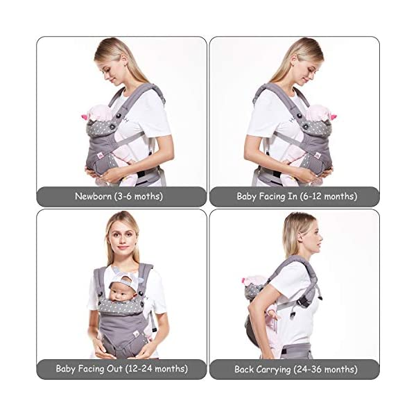 BelleStyle Baby Carrier - Adjustable & Breathable Baby Carrier Sling - Cotton Comfort Ergonomic Front and Backpack Baby Carriers for Newborns, Infants & Toddlers (3.5 to 20 kg), Dark Grey  ★All Seasons in One: Made of skin-friendly 100% cotton fabric, with a good breathable performance, comfortable and suitable for any season, one carrier fits different weathers. Lightweight and easy to bring on the go. ★Safe and Secure: Adopt the back strap and two-fold drop-proof fastener to prevent the shoulder strap from slipping off the shoulder, offering your baby a better protection. The foldable backplate assists in protecting your baby's head and neck. ★Ergonomic Design: Helps disperses baby's weight, plus, with the widened and thickened shoulder strap that can relieve mother's shoulder pressure, it makes mommy/daddy more comfortable and relaxed. Plus, the C+M sitting posture helps to protect your baby's hip bone development without affecting its blood circulation and prevent O-legs. 4