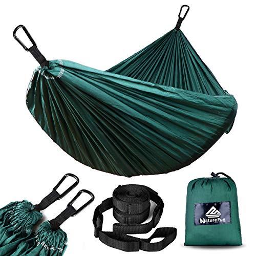 NATUREFUN Hamac Ultra-léger de Voyage Camping | 300 kg Capacité de Charge,Respirante, séchage Rapide | 2 x Mousquetons de qualités, 2 x Sangles de Nylon Inclus | pour Jardin d'interieur/extérieu