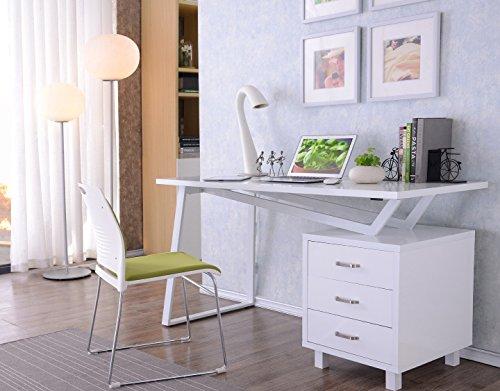 Sixbros office scrivania porta pc bianco lucido ct
