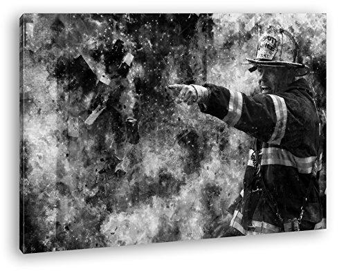 Feuerwehr Illustration Format: 80x60 Effekt: Schwarz/Weiß als Leinwandbild, Motiv fertig gerahmt...