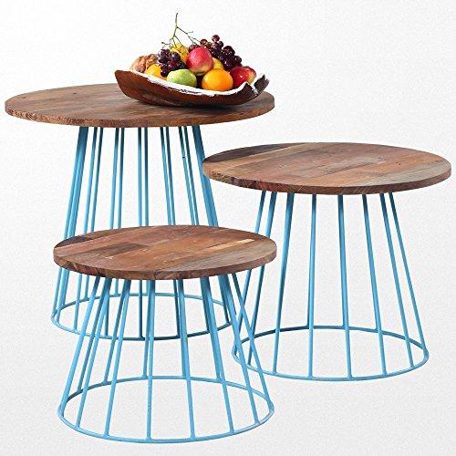 Atypik Home Petite Table Basse en Bois Exotique et Ses Pieds en Fer Bleu