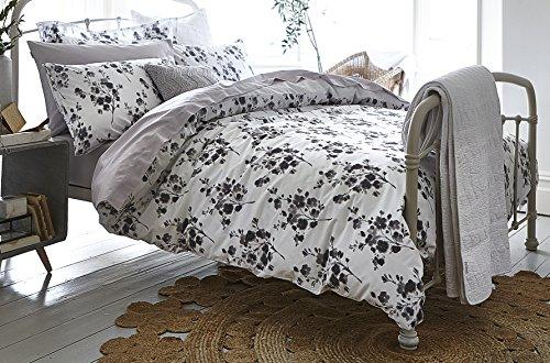 Bianca Sprig Cotton Print Super King Size Duvet Set – Grey