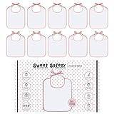 Sweet Safety Baby Lätzchen Set zum Bemalen Baumwolle Rosa Weiß für Mädchen Wasserdicht Geschenk Geburt 10 Stück