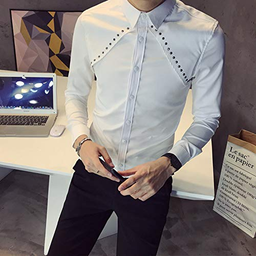 MKDLJY Herren-Hemd Männer Sexy Niet Dekoration Männer Hemd Langarm New Slim Fit Streetwear Prom Tuxedo Shirts -